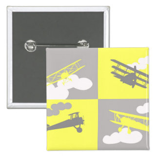 Airplane collage on grey and yellow button
