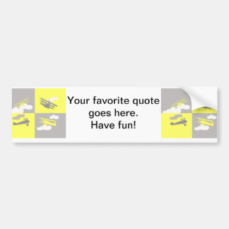 Airplane collage on grey and yellow. bumper sticker