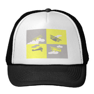 Airplane collage on grey and yellow. trucker hats