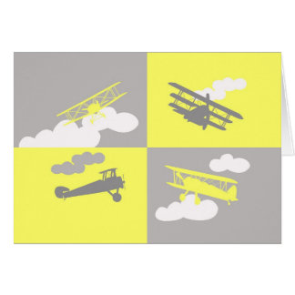 Airplane collage on grey and yellow. greeting card