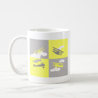 Airplane collage on grey and yellow. coffee mugs