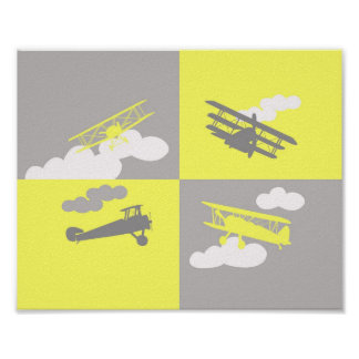 Airplane collage on grey and yellow. poster