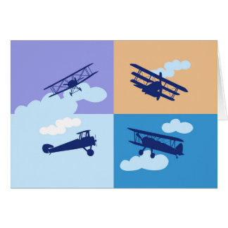 Airplane collage on pastel colors. greeting card
