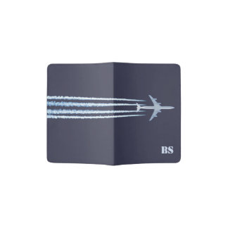 Airplane Contrails with (or without) Initials Passport Holder