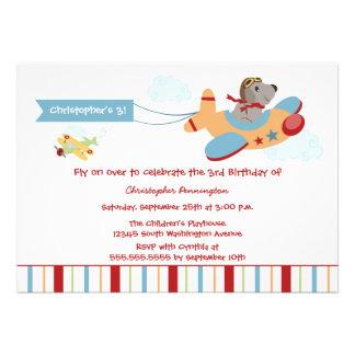 Airplane dog pilot boy s birthday party invitation