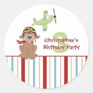 Airplane dog pilot boy s birthday party stickers