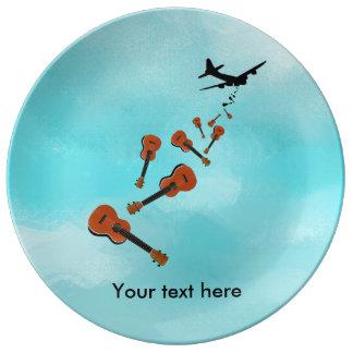 Airplane Dropping Ukuleles Porcelain Plates