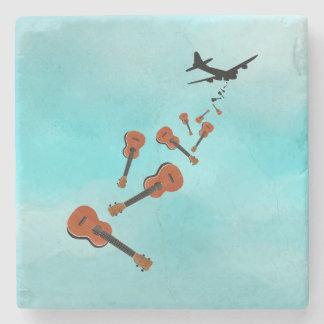 Airplane Dropping Ukuleles Stone Coaster