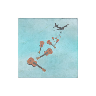 Airplane Dropping Ukuleles Stone Magnet