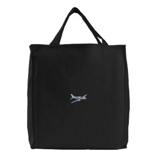 Airplane Embroidered Tote Bag
