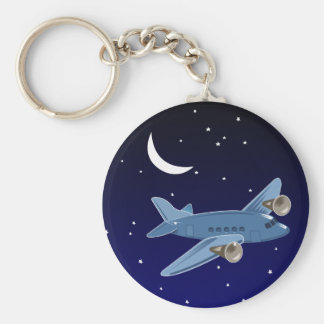 Airplane flying at night with moon & stars. Pilot Basic Round Button Key Ring