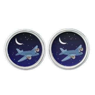 Airplane flying at night with moon & stars. Pilot Cufflinks