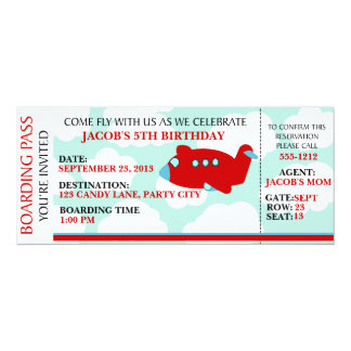 Airplane Flying birthday invitation customize