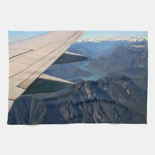 Airplane Flying Over the Rocky Mountains Kitchen Towels