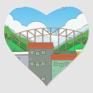Airplane flying over the town heart sticker