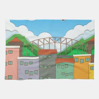 Airplane flying over the town towel