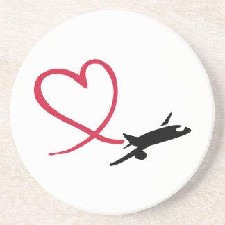 Airplane heart love coaster