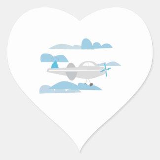 Airplane In Clouds Heart Sticker