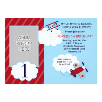 Airplane Little Aviator Red & Navy Photo Birthday 13 Cm X 18 Cm Invitation Card