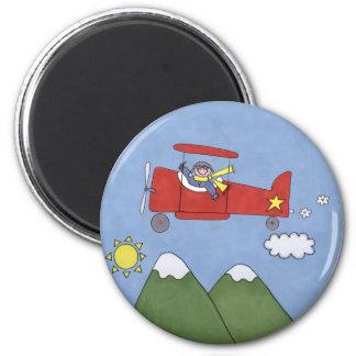 Airplane 6 Cm Round Magnet
