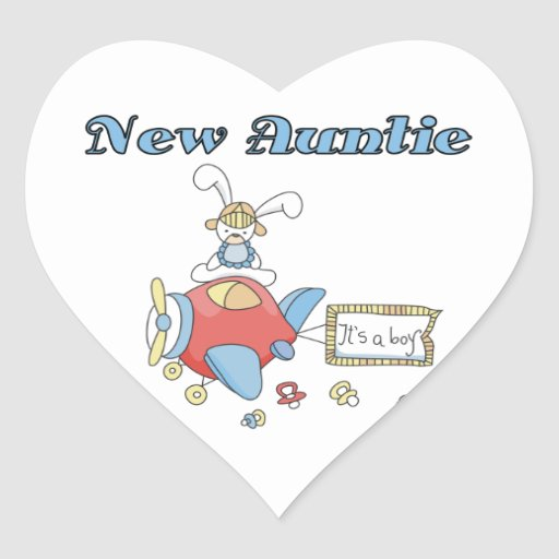 Airplane New Aunt of Boy T-shirts and Gifts Heart Sticker