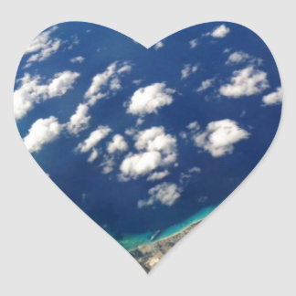 AIRPLANE OCEAN CLOUDS ISLANDS VIEW PHOTOGRAPHY HEART STICKER