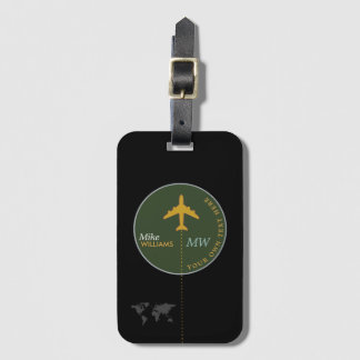 airplane on greenish luggage tag with name