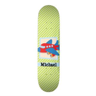 Airplane on Lime Green & White Stripes 18.1 Cm Old School Skateboard Deck