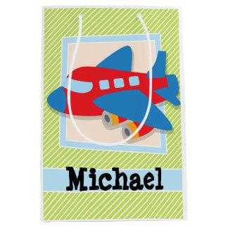 Airplane on Lime Green & White Stripes Medium Gift Bag