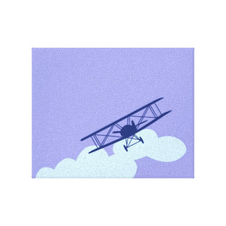 Airplane on plain blue background gallery wrap canvas