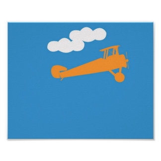 Airplane on plain blue background. poster