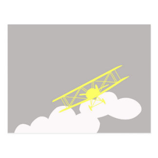 Airplane on plain grey background. post cards
