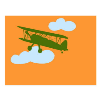 Airplane on plain orange background. postcard
