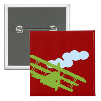 Airplane on plain red background button