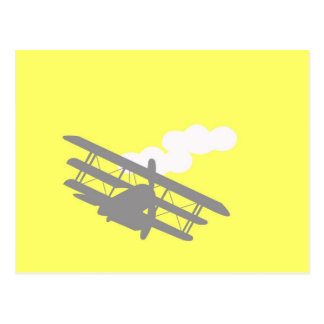 Airplane on plain yellow background. post card