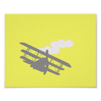 Airplane on plain yellow background. poster