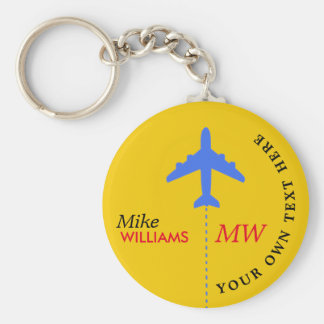 airplane on yellow keychain with name