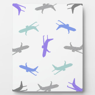 Airplane pattern - blue, gray and black. plaque