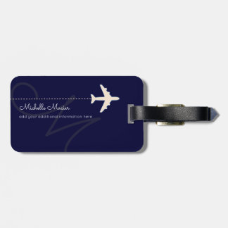 airplane personalized name & initial on navy blue luggage tag