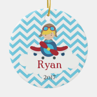Airplane Pilot Boy Chevron Cloud Ornament Blonde