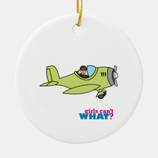 Airplane Pilot - Light/Blonde Ceramic Ornament
