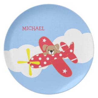Airplane Puppy Dog Kids Plate
