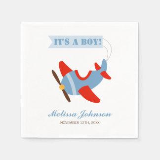 Airplane Red Blue Boy Baby Shower Disposable Serviette