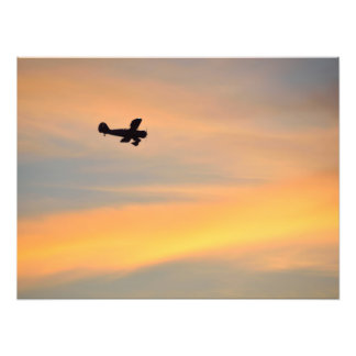 Airplane silhouette at sunset photo print