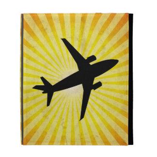 Airplane Silhouette; yellow iPad Folio Case