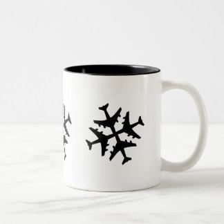 Airplane Snowflake Two-Tone Mug