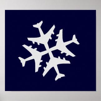 Airplane Snowflake Poster