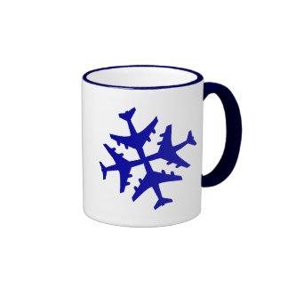 Airplane Snowflake Ringer Mug