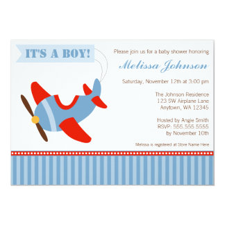 Airplane Stripes Red Blue Boy Baby Shower 13 Cm X 18 Cm Invitation Card