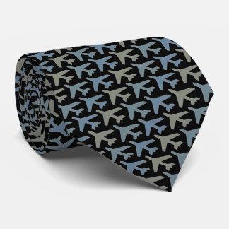 Airplane Tie Armani Grey on Black